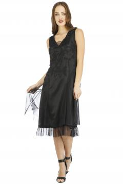 Nataya AL-254 Vintage Style Party Dress in Black