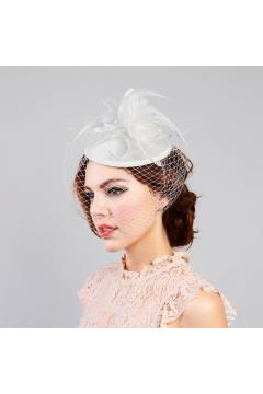 1920s Inspired Fascinator with Mesh Veil in Ivory