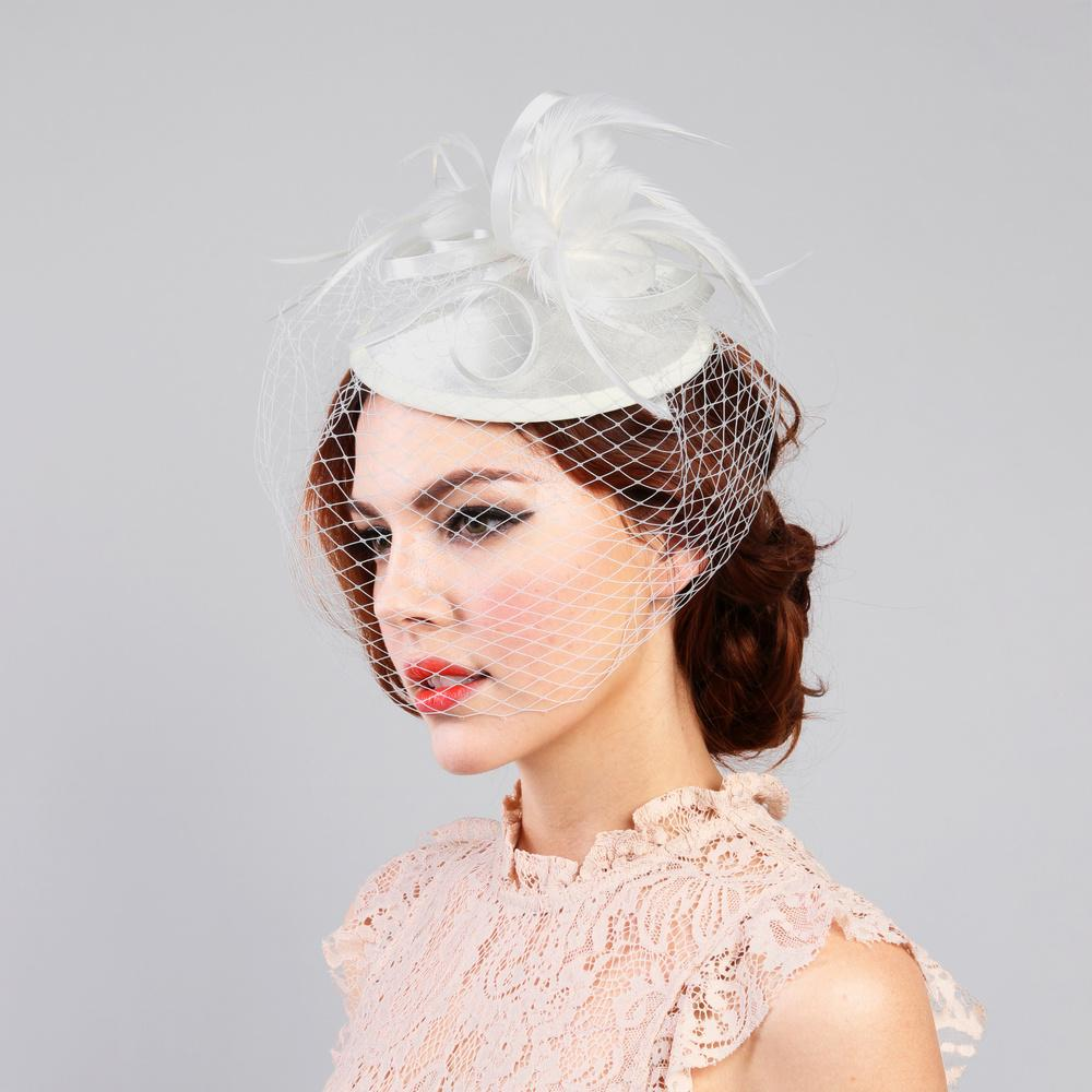 1920s Inspired Fascinator with Mesh Veil in Ivory 74028bfd499
