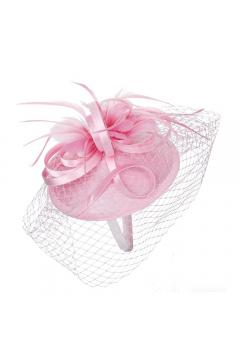 1920s Inspired Fascinator with Mesh Veil in Pink