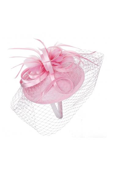 1920s Inspired Fascinator with Mesh Veil in Ping