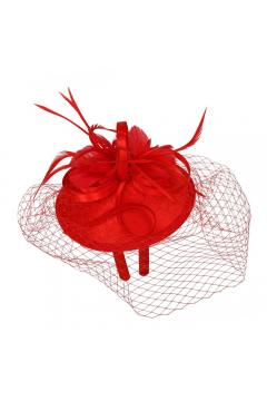 1920s Inspired Fascinator with Mesh Veil in Red