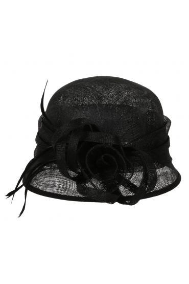 1920s Style Sinamay Bucket Hat in Black