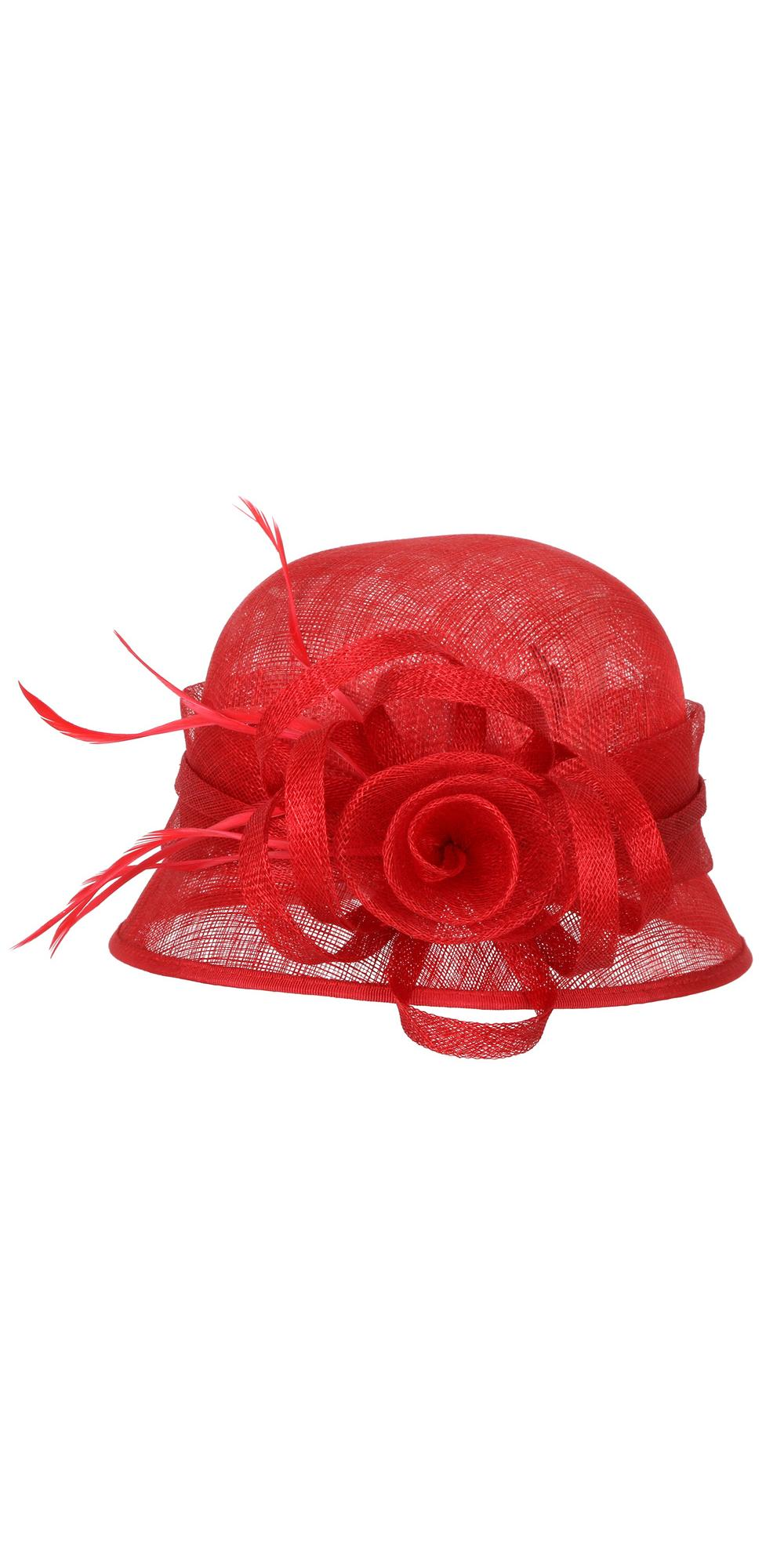 ca2b0329 1920s Style Sinamay Bucket Hat in Red