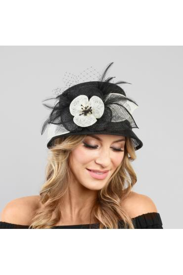 1920s Style Sinamay Hat in Black White