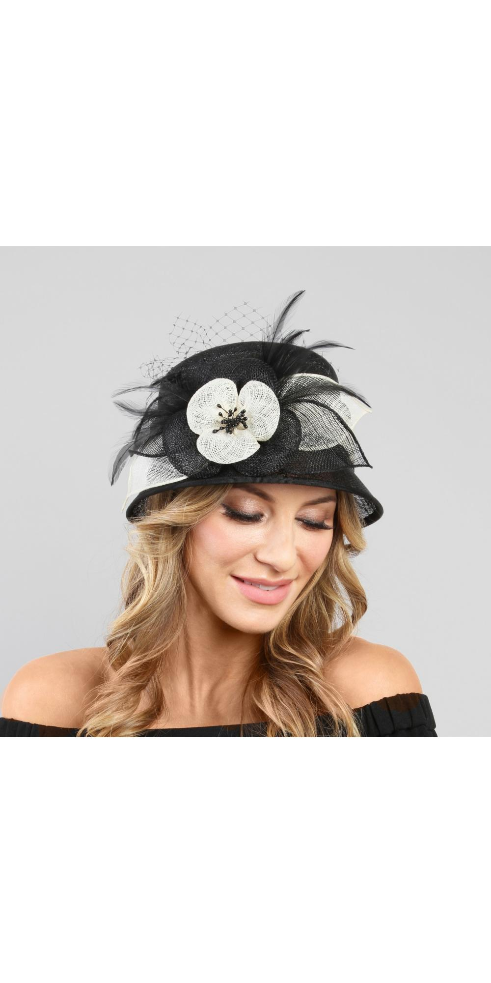 1920s Style Sinamay Hat in Black White 9408a5d73ee