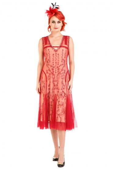 Nataya AL-281 Vintage Style Dress in Cherry
