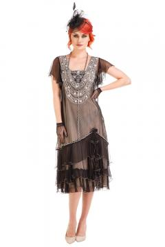 Nataya AL-283 Vintage Style Dress in Black/Silver