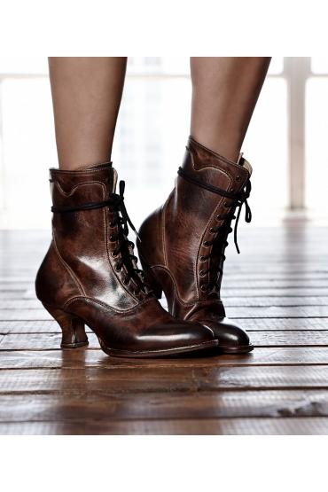Victorian Style Ankle Boots in Teak Rustic