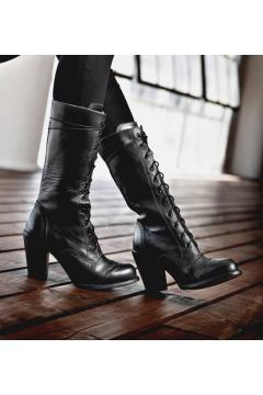 Victorian Inspired Leather Boots in Black Rustic
