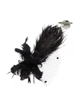 1920s Style Fascinator with Mesh Veil in Black
