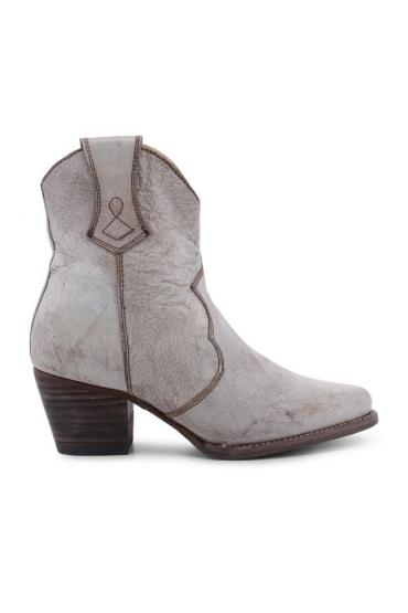Cowgirl Leather Ankle Boots in White