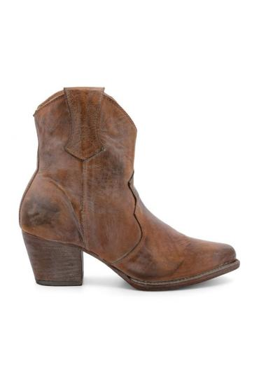 Cowgirl Leather Ankle Boots in Rustic