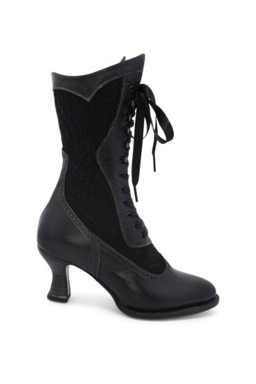 Victorian Inspired Leather Boots in Black