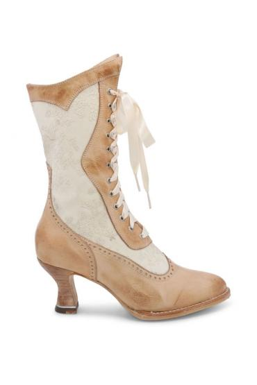 Victorian Inspired Leather Boots in Bone Rustic