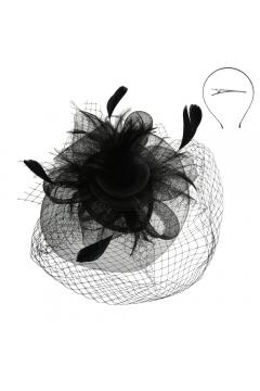 Vintage Style Veil Fascinator in Black