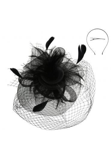 Vintage Style Veil Fascinator in Black
