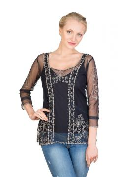Art Nouveau Vintage Top in Black by Nataya