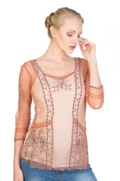 Art Nouveau Vintage Top in Rose/Silver by Nataya