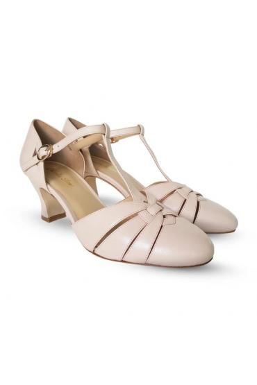 Montpellier 1920s Style Heels in Cream