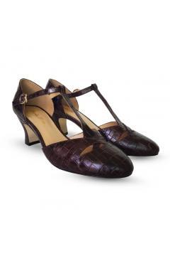 Roma 1920s Style Heels in Espresso Croc