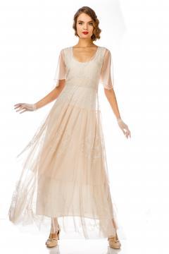 Scarlett 1920s Style Wedding Dress in Peach Ivory by Nataya