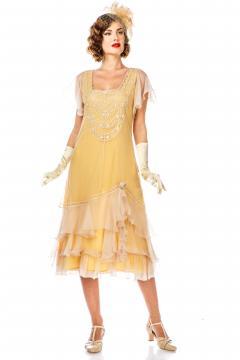 Alexa 1920s Flapper Style Dress in Lemon by Nataya