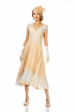Ayla 1920s Style Wedding Dress in Nude Mint by Nataya