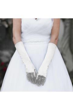 Above Elbow Wedding Gloves in White