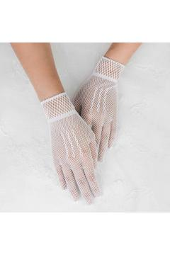 Butler Lace Short Gloves in White
