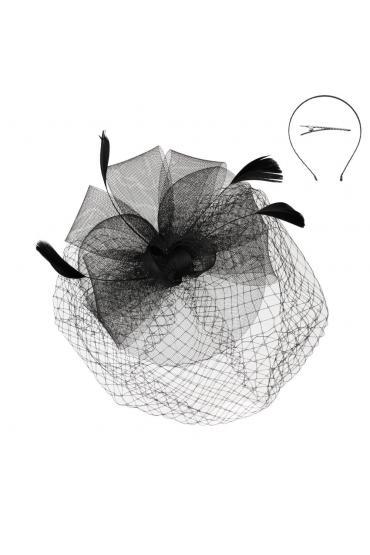 Mesh Floral Fascinator in Black