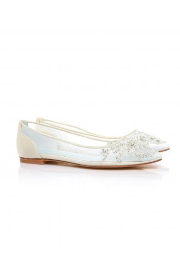 Adora Wedding Bridal Flats in White