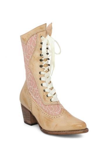 Biddy Victorian Boots in Bone Rustic