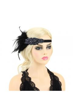 Gatsby Style Feather Band in Black